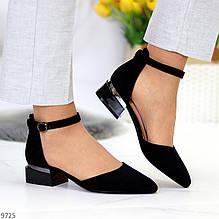 Босоножки женские черные закрытые с ремешком на каблуке эко замш