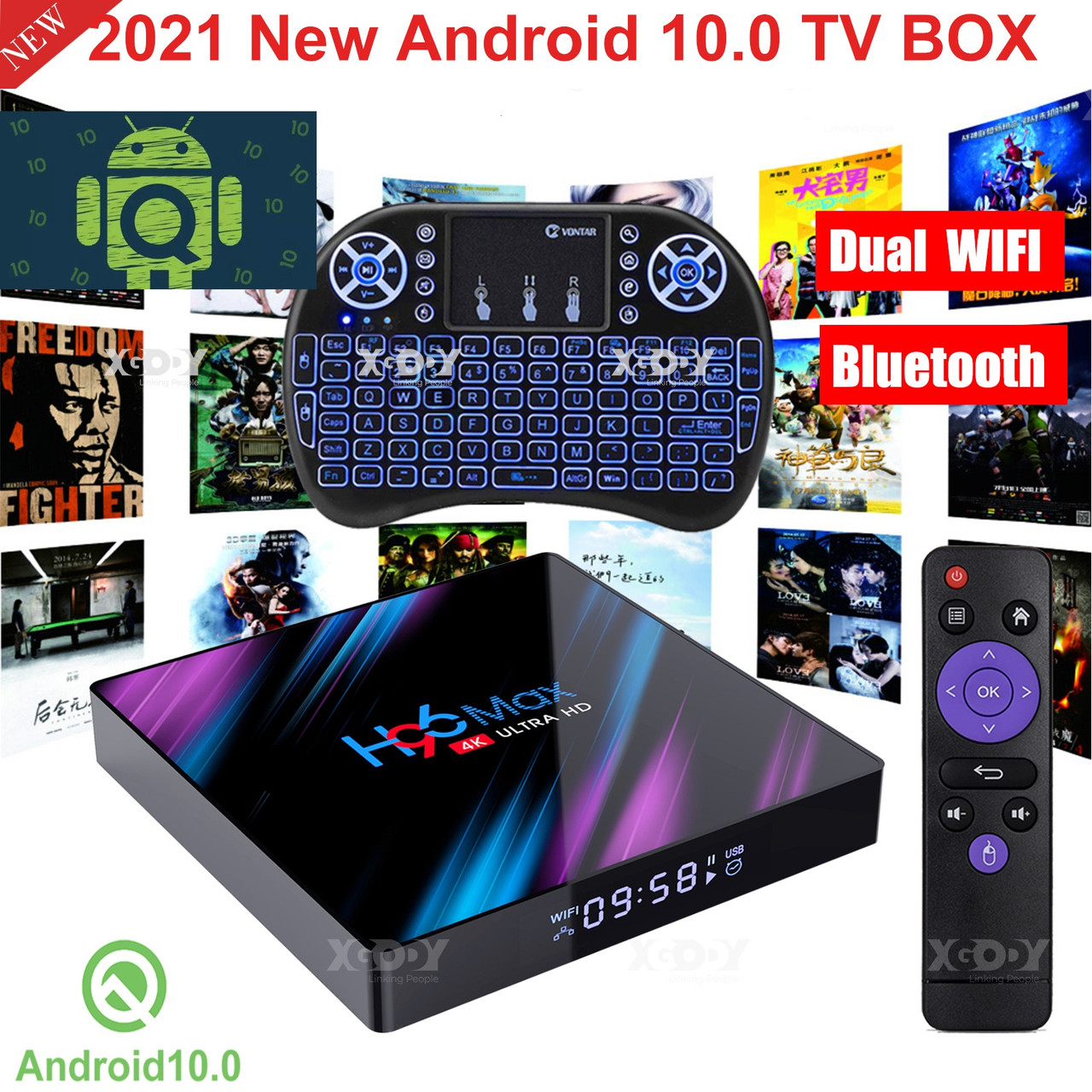 Смарт ТВ приставка SmartTV H96 Max 2gb/16gb Android TV box + клавиатура