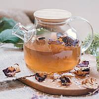 Стеклянный заварочный чайник 1 литр с бамбуковой крышкой