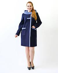 Пальто женское демисезонное, кашемировое, батал 2182 | 50, 52, 54, 56, 58, 60, 62 размеры