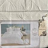 """Комплект постільної білизни з двома підодіяльніками- Сімейний """"Rimbossa"""" - Ефект об'єму  Натуральний Віскоза, фото 2"""