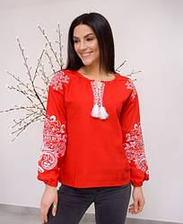 """Вышитая женская блуза """"Ольга"""" из льна в красном цвете с белым орнаментом"""