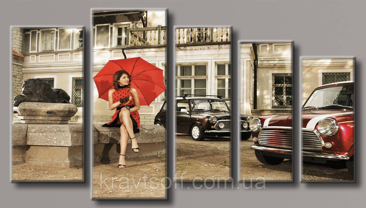 """Модульная картина на холсте из 5 частей """"Девушка под зонтом"""" ( 71х128 см ) арт.HAB-114"""