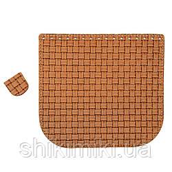 Клапан для сумки из натуральной кожи (20*18), цвет рыжий ротанг