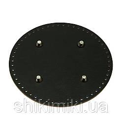 Дно из эко-кожи для сумки с ножками круглое 20 см, цвет черный