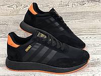 Чоловічі кросівки Adidas Iniki Black. Мужские кроссовки Adidas Iniki Runner черные с оранжевым