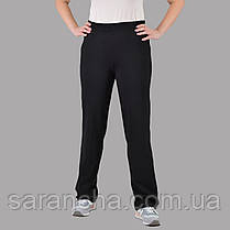 Широкі жіночі прямі чорні брюки з двунитки розмір 50,52,54,56