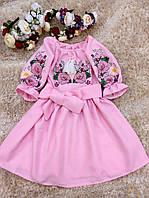 """Розовое вышитое платье """"Пионы"""" для девочки. Вышиванка"""