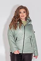 Куртка-ветровка БАТАЛ шалфей/светло-зеленого цвета арт.1008