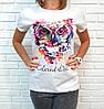 Барвиста літня футболка з совою 42-46 (в кольорах), фото 5