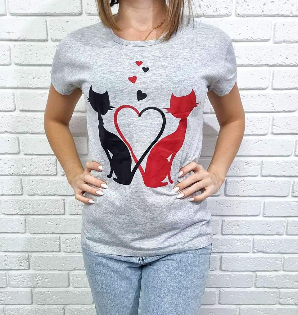 Жіноча футболка бавовняна на кожен день 42-46 (в кольорах)