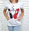 Жіноча футболка бавовняна на кожен день 42-46 (в кольорах), фото 4