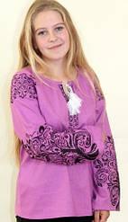 """Вышитая женская блуза """"Ольга"""" из льна в фиолетовом цвете с чёрным орнаментом"""