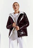 Женский пуховик куртка демисезонная короткая темная утепленная весенняя модная купить в Украине