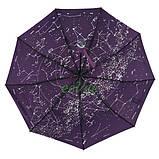 Жіночий напівавтомат зонт з внутрішнім малюнком Зоряне небо складаний Фіолетовий Lantana (712/2), фото 2