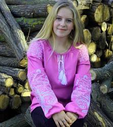 """Вышитая блуза """"Ольга"""" из льна в фиолетовом цвете с белым орнаментом"""