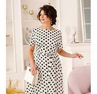 Женское платье большого размера, Платье миди на запах с короткими рукавами и расклешенным подолом. На спинке