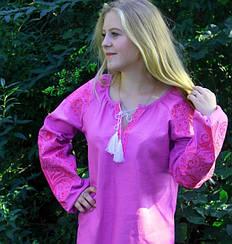 """Вышитая блуза """"Ольга"""" из льна в фиолетовом цвете с коралловым орнаментом"""