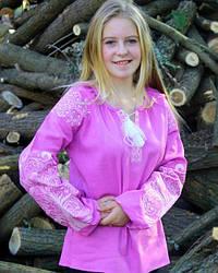 """Вышитая блуза """"Ольга"""" из льна в фиолетовом цвете с бежевым орнаментом"""