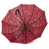 Зонт трость женский Flagman Звездное Небо полуавтомат 10 карбоновых спиц купол 112 см Бордовый, фото 2