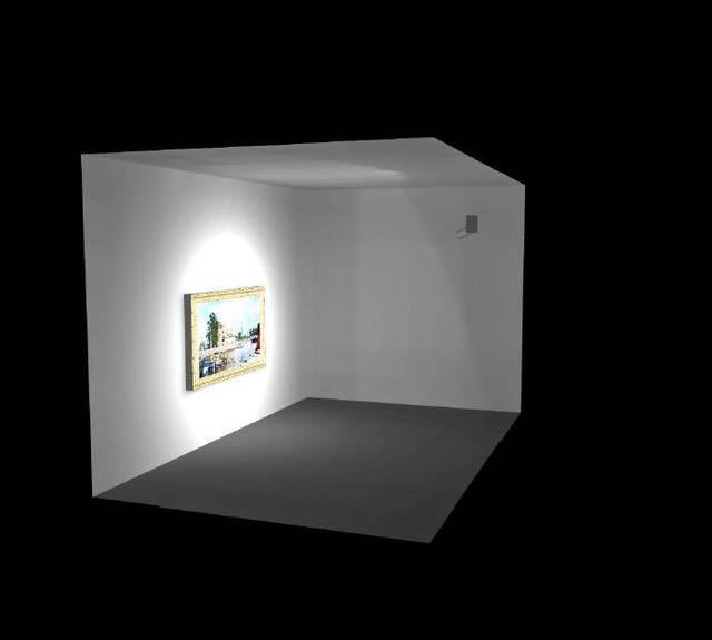 3D визуализация будущего проекта. Непосредственно на объекте будут добавлены шторки для фокусировки света на картины.
