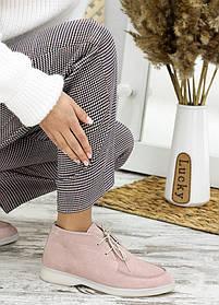 Демисезонные женские туфли мокасины замша цвет пудра, размеры от 36 до 40