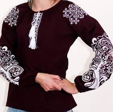 """Блуза вышиванка """"Ольга"""" из льна в бордовом цвете с белым орнаментом"""