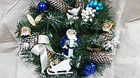 "Новогодний венок - украшение на двери ""Дед Мороз на санях"", 210/240,38см (цена за 1 шт. +30 грн.)"