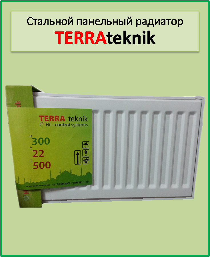 Сталевий радіатор Terra teknik 22k 300*1800 бокове підключення