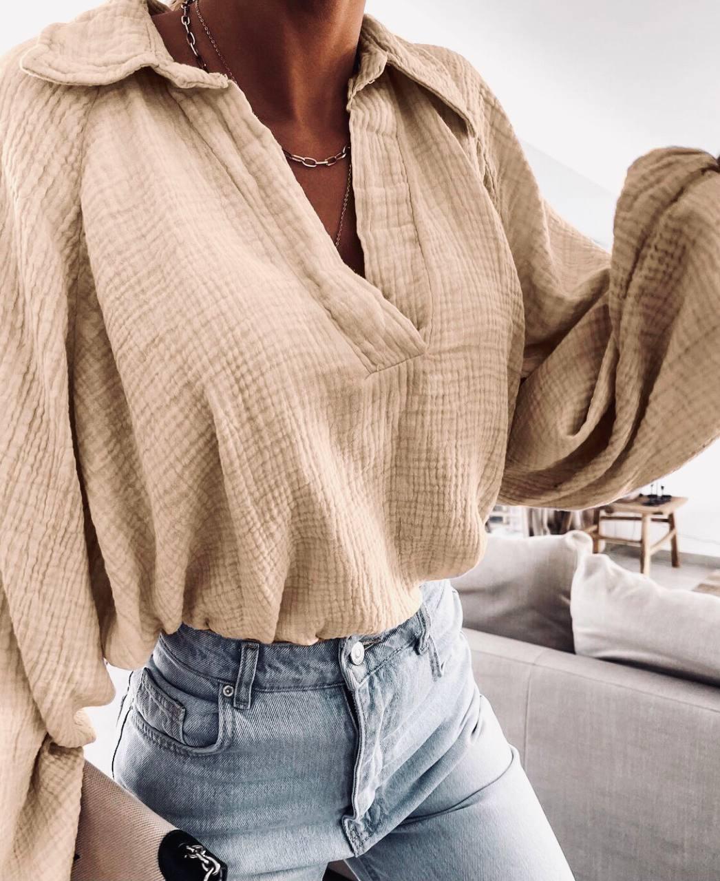 Женская  рубашка. Ткань : Муслин ( хлопок)- легкая и воздушная Цвет : белый, чёрный , беж , желтый ( лимонный)