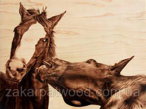 Коні (Пірографія) 400 х 400мм