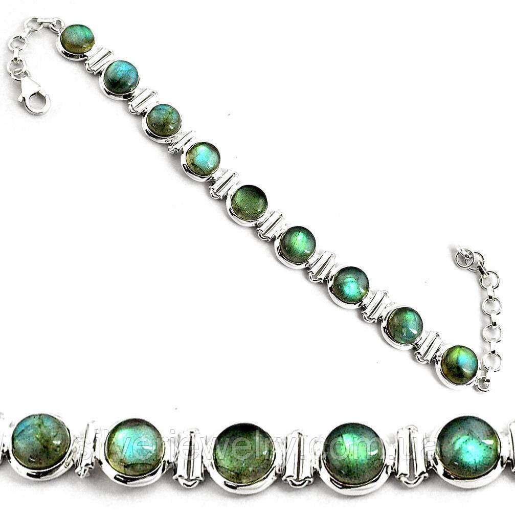 Срібний браслет з ЛАБРАДОРОМ (натуральний), срібло 925 пр.