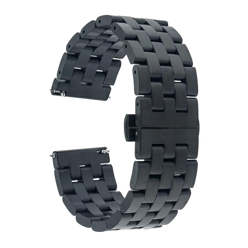 Универсальный металлический браслет для часов 22мм черного цвета