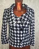 Трендовий турецький чорно - білий жіночий двобортний піджак, фото 4