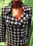 Трендовий турецький чорно - білий жіночий двобортний піджак, фото 8