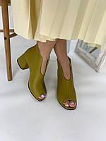 Ботильоны кожаные оливковые летние с открытым носком на устойчивом каблуке, 36,39,41 размеры, фото 1