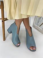 Ботильйони жіночі блакитні літні з відкритим носком на стійкому каблуці, фото 1