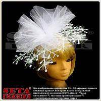 Шляпка Снежинка на обруче новогодняя белая с фатином