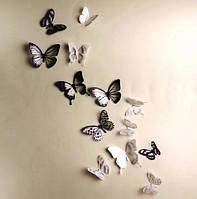 Бабочки 3D чёрные и белые с блёстками 3Д декор наклейки