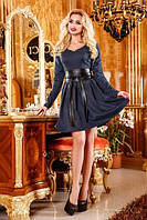 платье женское элегантное средней длинны с широким поясом