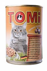 TOMi УТКА ПЕЧЕНЬ (duck&liver) консервы корм для кошек, банка 400гр