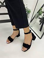 Босоножки косичка черные замшевые на устойчивом каблуке