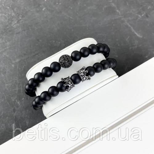 2B Rich Bracelet Sphere 8 mm, 19 cm All Black
