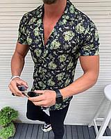 Стильна чоловіча сорочка з коротким рукавом, чорна з малюнком (Туреччина) - S, M