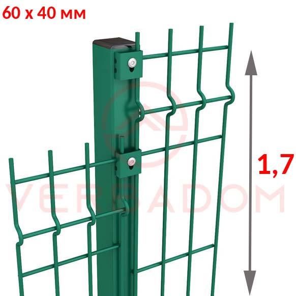 Столб для забора: высота 1,7 метра (60х40мм) зеленый