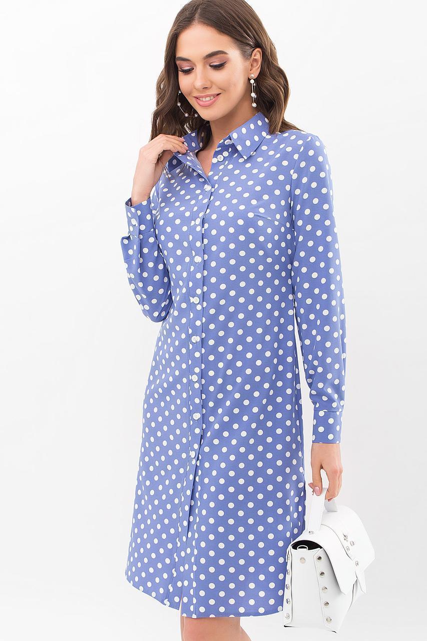 Голубое  платье-рубашка  в горох Элиза д/р