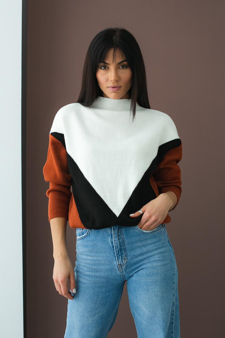 Триколірний светр з геометричним малюнком LUREX - теракотовий колір, S (є розміри)
