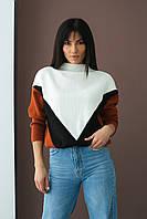 Триколірний светр з геометричним малюнком LUREX - теракотовий колір, S (є розміри), фото 1