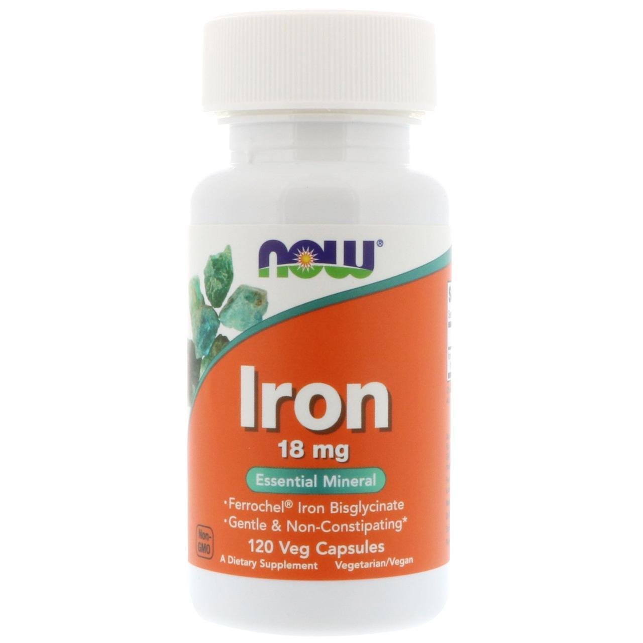 Железо 18мг, Now Foods, 120 гелевых капсул
