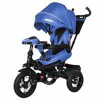 Детский трехколесный велосипед с поворотным сиденьем и ручкой для родителей TILLY Impulse T-386/1 (Синий)